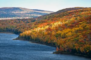 Fall colors on the shore of Lake of the Clouds in the Porcupine Mountains Wilderness State Park
