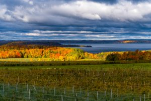 West Arm of Grand Traverse Bay from High Overlook of Old Mission Peninsula in the Fall